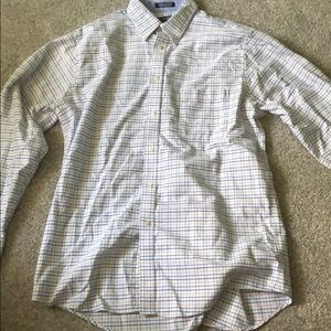 Chaps men's dress shirt, white with plaid pattern